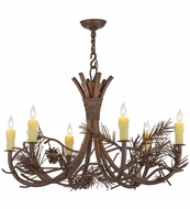 Meyda Tiffany 152840 Woodland Pine Wrt Iron Over China Mhbrz Ceiling Chandelier