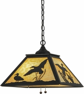 Meyda Tiffany 153287 Ducks in Flight Rustic Black / Ba Glass Hanging Pendant Lighting