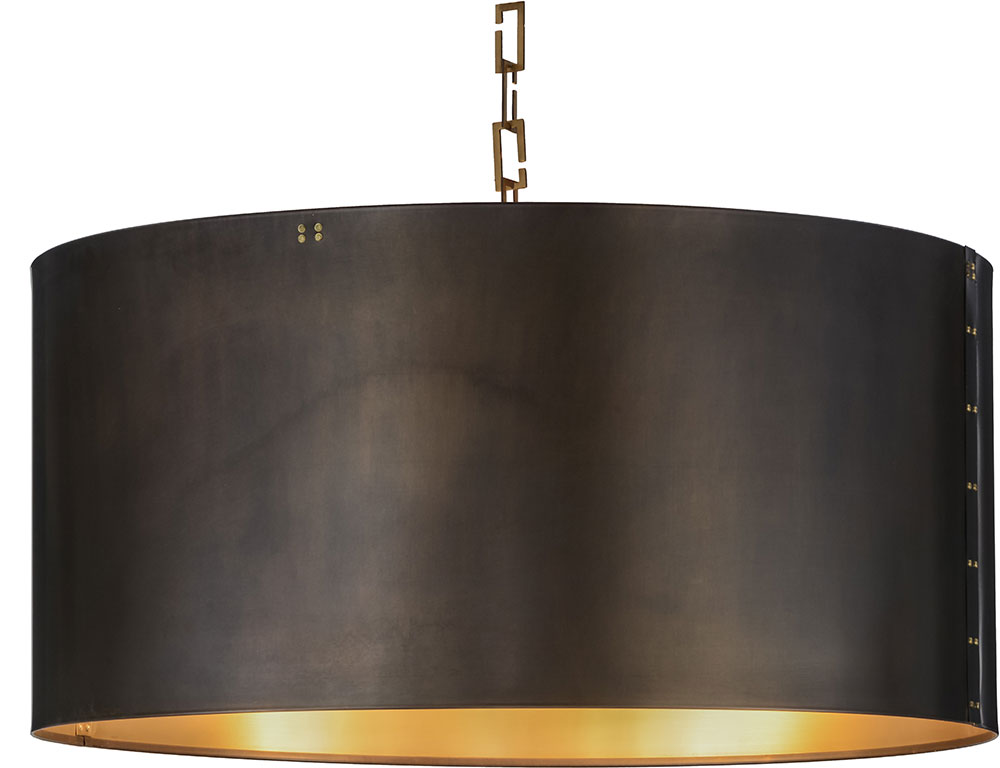 Meyda Tiffany 153356 Cilindro Campbell Craftsman Brown / Brushed Brass  Hanging Light Fixture. Loading Zoom