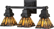 Meyda Tiffany 153627 Sierra Prairie Mission Tiffany Mahogany Bronze 3-Light Bathroom Lighting