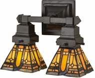 Meyda Tiffany 153633 Sierra Prairie Mission Tiffany Mahogany Bronze 2-Light Lighting For Bathroom