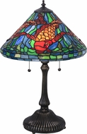 Meyda Tiffany 154003 Tiffany Koi Tiffany Blue / Green Orange Green Table Lamp