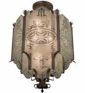 Meyda Tiffany 154184 Chartres Antique Nickel Flush Mount Light Fixture