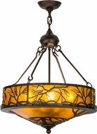 Meyda Tiffany 154443 Branches Rustic Mahogany Bronze / Amber Mica Drop Ceiling Lighting