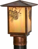 Meyda Tiffany 154518 Seneca Winter Pine Country Bai Vintage Copper Outdoor Post Light Fixture