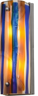 Meyda Tiffany 154595 Metro Fusion Oceano Modern Amber / Beige / Smoke / Irid Blue Nickel Powder Coat Wall Sconce Lighting