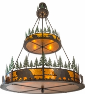 Meyda Tiffany 154616 Bear in the Woods Rustic Timeless Bronze / Amber Mica Green Trees Ceiling Chandelier