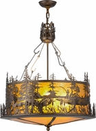 Meyda Tiffany 154676 Bass and Fisherman Rustic Antique Copper / Amber Mica Lighting Pendant