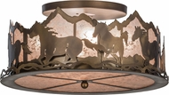 Meyda Tiffany 154711 Wild Horses Rustic Antique Copper / Silver Mica Flush Lighting