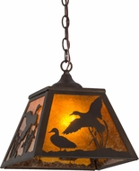 Meyda Tiffany 154749 Ducks in Flight Rustic Antique Copper / Amber Mica Pendant Light Fixture