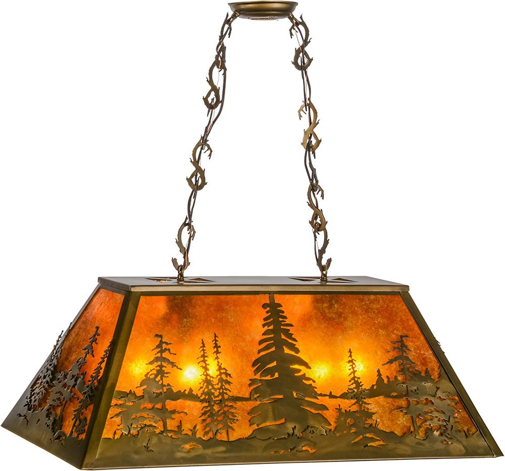 Meyda tiffany 154998 tall pines rustic antique copper for Island kitchen lighting fixtures