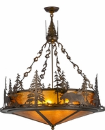 Meyda Tiffany 155008 Wildlife at Dusk Country Antique Copper / Silver Mica Hanging Pendant Lighting