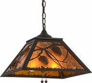 Meyda Tiffany 155142 Whispering Pines Rustic Oil Rubbed Bronze / Amber Mica Hanging Light Fixture