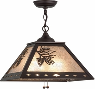 Meyda Tiffany 156972 Winter Pine Country Mahogany Bronze / Silver Mica Drop Lighting