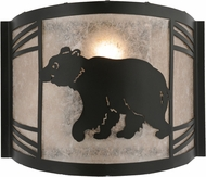 Meyda Tiffany 157293 Happy Bear on the Loose Left Rustic Black / Silver Mica Fluorescent Wall Lighting Fixture