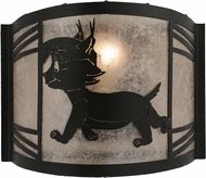 Meyda Tiffany 157296 Lynx on the Loose Left Rustic Black / Silver Mica Fluorescent Wall Sconce Light