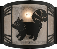 Meyda Tiffany 157300 Raccoon on the Loose Left Rustic Black / Silver Mica Fluorescent Sconce Lighting
