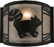Meyda Tiffany 157301 Raccoon on the Loose Right Country Black / Silver Mica Fluorescent Light Sconce