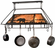 Meyda Tiffany 15737 Bear at Lake Textured Black / Amber Mica Pot Rack
