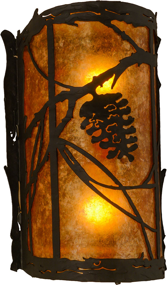 Meyda Tiffany 157371 Whispering Pines Rustic Oil Rubbed Bronze Amber Mica Lighting Wall Sconce Loading Zoom