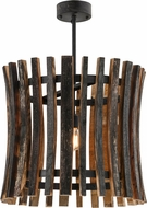 Meyda Tiffany 157547 Barrel Stave Madera Contemporary Costello Black Pendant Light Fixture