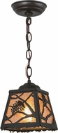 Meyda Tiffany 157564 Spruce Pine Country Timeless Bronze / Silver Mica Mini Pendant Lighting Fixture