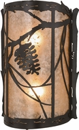 Meyda Tiffany 157666 Whispering Pines Rustic Timeless Bronze / Silver Mica Wall Light Sconce