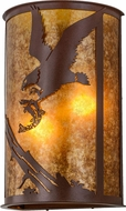 Meyda Tiffany 157841 Strike of the Eagle Rustic Rust / Amber Mica Fluorescent Wall Sconce Light