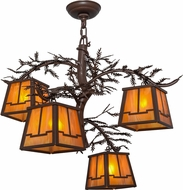 Meyda Tiffany 158068 Pine Branch Valley View Rustic Cafe Noir / Has Halogen Chandelier Lamp