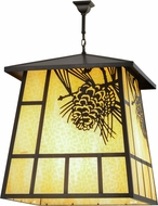 Meyda Tiffany 158489 Winter Pine Rustic Beige Craftsman Brown Pendant Light