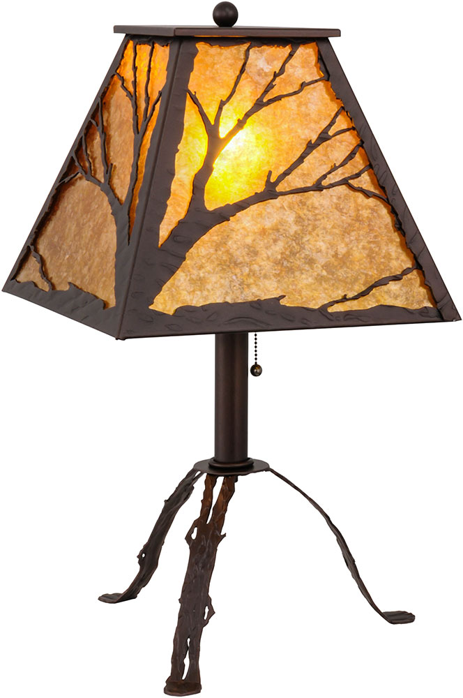Meyda Tiffany 158717 Branches Rustic Mahogany Bronze / Amber Mica Table Lamp.  Loading Zoom