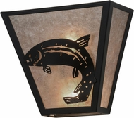 Meyda Tiffany 158828 Leaping Trout Country Black / Silver Mica Wall Light Sconce