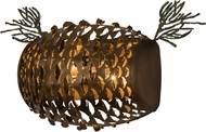 Meyda Tiffany 158932 Stoneycreek Pinecone Rustic Antique Copper / Green Needles Wall Sconce