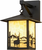 Meyda Tiffany 159117 Seneca Deer Creek Country Beige Black Text Powdercoat Exterior Lighting Wall Sconce