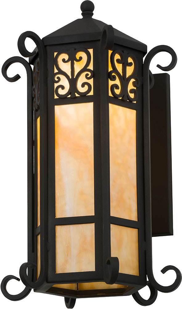 Elegant Meyda Tiffany 159209 Caprice Lantern Wrought Iron Wall Sconce Light.  Loading Zoom