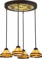 Meyda Tiffany 159298 Middleton Art Glass Ceiling Medallion Tiffany Multi Hanging Pendant Lighting