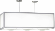 Meyda Tiffany 159715 Quadrato Convex Contemporary Clear Globes / White Acrylic Satin Nickel Island Light Fixture