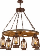 Meyda Tiffany 160381 Miner's Lantern Wagon Wheel Modern Rust Hanging Chandelier
