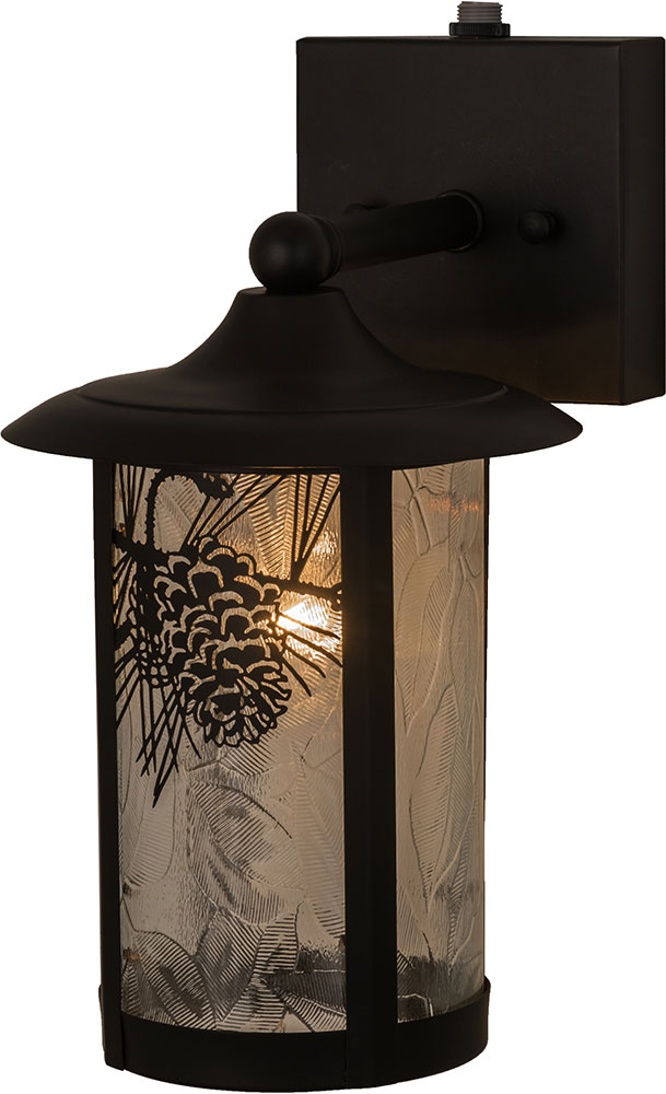 Black Rustic Wall Lights : Meyda Tiffany 160520 Fulton Winter Pine Rustic Zald / Solar Black Wall Sconce Light - MEY-160520