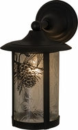 Meyda Tiffany 160585 Fulton Winter Pine Rustic Zald / Solar Black Exterior Wall Lighting