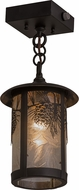 Meyda Tiffany 160633 Fulton Winter Pine Country Zald / Solar Black Mini Pendant Lighting Fixture