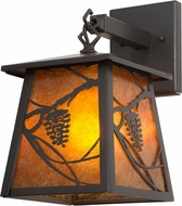 Meyda Tiffany 160699 Whispering Pines Rustic Timeless Bronze / Amber Mica Sconce Lighting