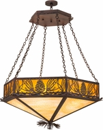 Meyda Tiffany 160953 Mountain Pine Rust / Wrt Iron Honey Opal Beige Pendant Hanging Light