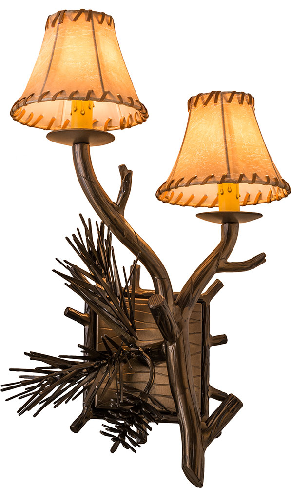Antique Tiffany Wall Sconces : Meyda Tiffany 161370 Lone Pine Country Antique Copper Wall Light Sconce - MEY-161370