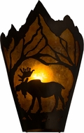 Meyda Tiffany 161606 Moose at Dawn Left Country Antique Copper / Amber Mica Wall Light Sconce