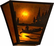 Meyda Tiffany 161611 Canoe At Lake Rustic Antique Copper / Amber Mica Wall Sconce Light