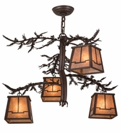 Meyda Tiffany 161741 Pine Branch Valley View Cafe Noir/Silver Mica Halogen Ceiling Chandelier