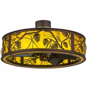 Meyda Tiffany 162162 Whispering Pines Mahogany Bronze/Amber Mica Oiled Bronze LED Overhead Lighting