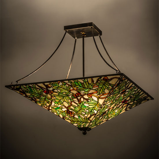 Meyda Tiffany 163023 Acorn Oak Leaf Burnished Antique & Stained Glass Inverted Pendant Light | Shapeyourminds.com