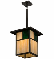 Meyda Tiffany 163087 Hyde Park  T  Mission Mission Green Brown Exterior Lighting Pendant